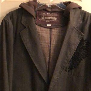 Machine Men's plaid coat with removable hood.